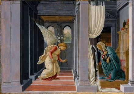 Botticelli, Sandro: The Annunciation. Fine Art Print/Poster. Sizes: A4/A3/A2/A1 (003534)